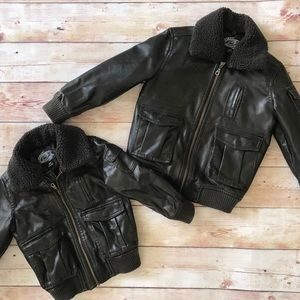 Faux Leather Bomber Jacket size 4/5 (Unisex)